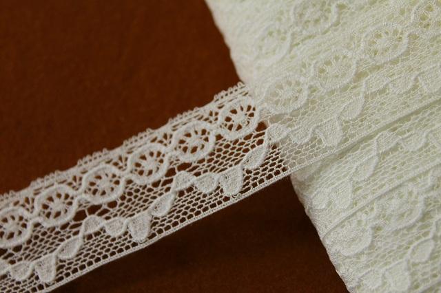 画像1: 10m!幅3cm 綺麗な綿トーションレース オフホワイト (1)