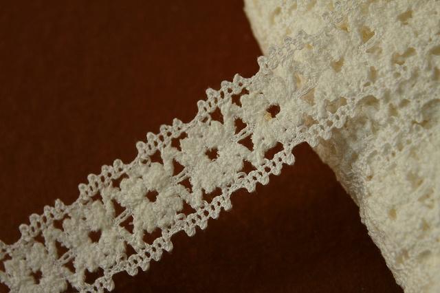 画像1: 10m!3cm モコモコのお花柄トーションレース オフホワイト (1)