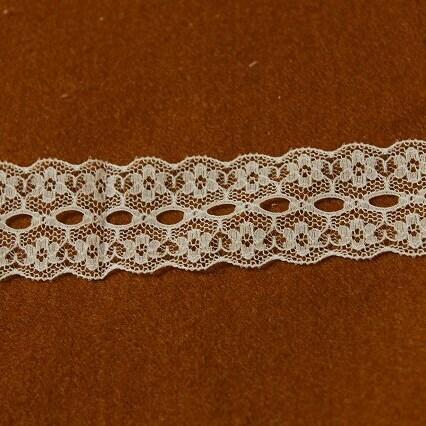 画像1: ラッセルレース オフホワイト 幅2.8cmリボン通し小花柄 10m! (1)
