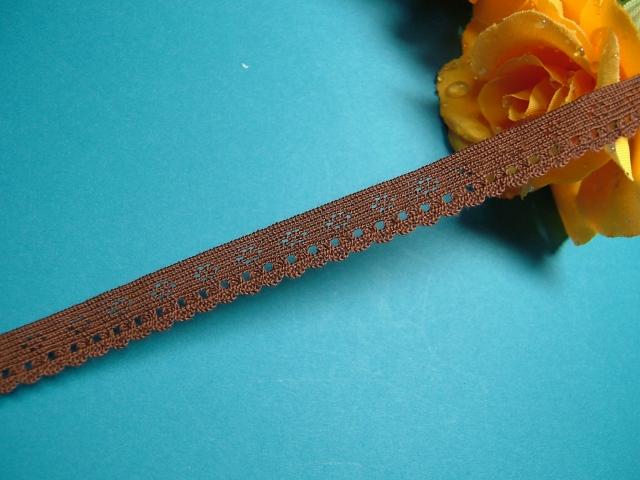 画像1: ストレッチトーションレース ブラウン 幅1.1cmコットン製 10m巻 (1)