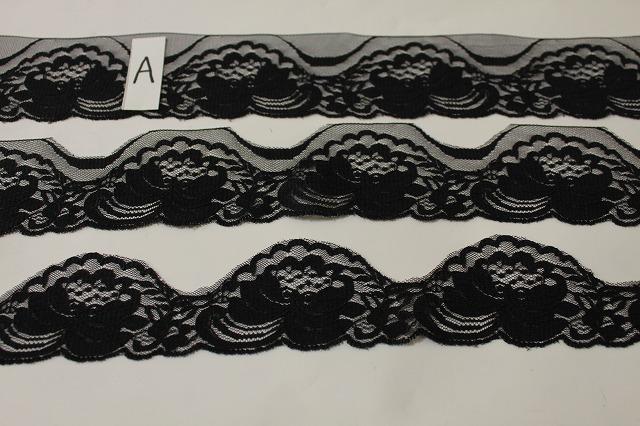 画像1: 150円!3m!幅5.8cm薔薇柄ラッセルレース 黒 (1)