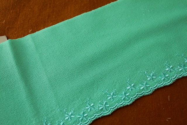 画像1: 2.2m!幅16cm可愛い小花柄刺繍レース グリーン/青 (1)