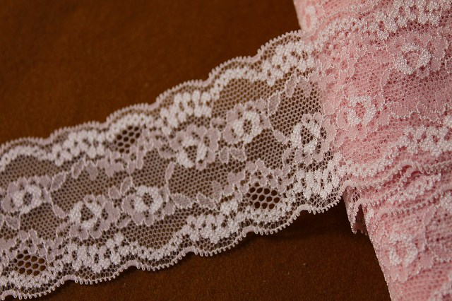 画像1: 5m!幅6cm綺麗な薔薇柄ラッセルストレッチレース 上品なピンク (1)