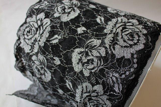 画像1: 5m!幅18cm大胆な薔薇柄ラッセルストレッチレース 黒/オフホワイト (1)