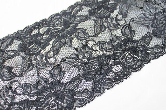 画像1: ラッセルレース 黒 5m巻!幅16.5cm大胆な薔薇柄 (1)