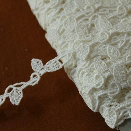 画像1: 3m!幅1.7cm美しい葉柄綿ケミカルレース オフホワイト ボタニカルレース (1)