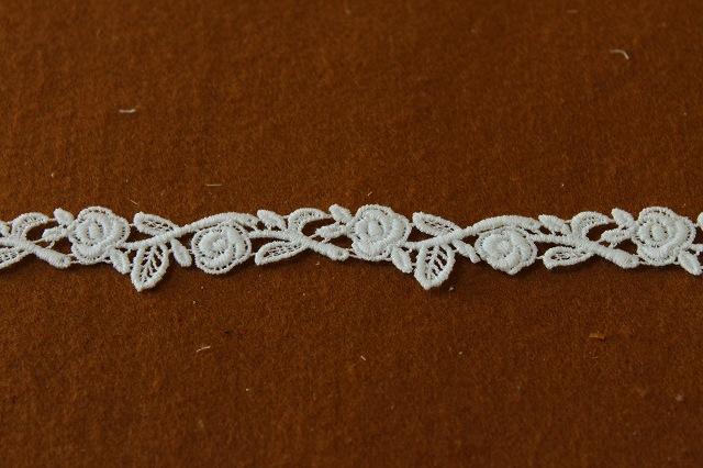 画像3: 3m!幅1.8cm美しい薔薇柄綿ケミカルレース オフホワイト アクセサリーレース