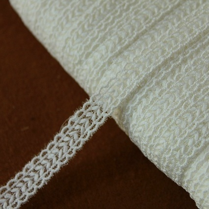 画像1: 13m!幅1.1cm繊細なチュールレース オフホワイト ドールドレスに (1)
