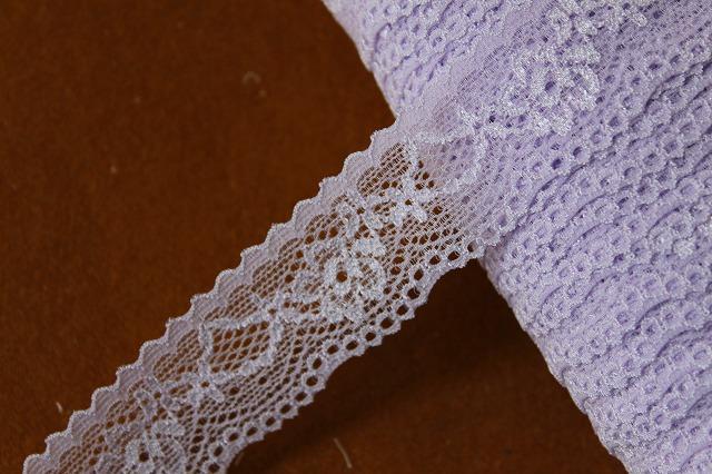 画像1: 30m!幅2.8cm綺麗な薔薇柄ラッセルストレッチレース 紫 (1)