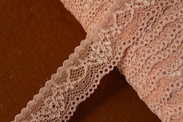 画像1: 31m!幅3cm綺麗な薔薇柄ラッセルストレッチレース ブラウン (1)