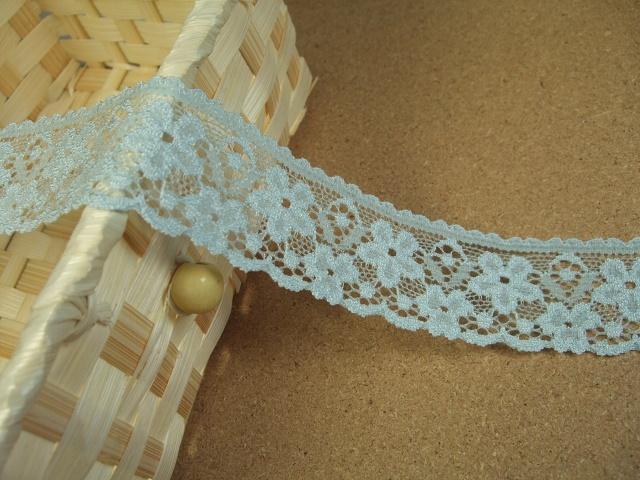画像1: 10m!幅2.8cm可愛いお花柄落下板ラッセルストレッチレース サックス青 (1)