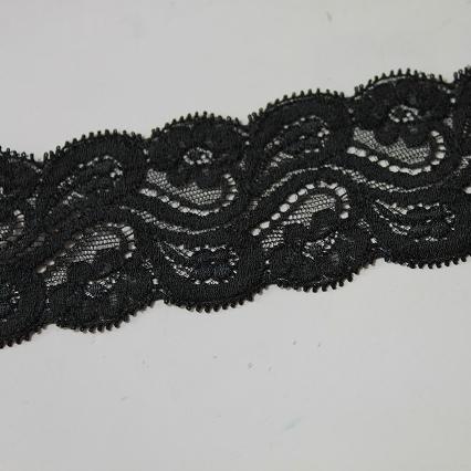 画像1: 5m!!幅6.3cm花柄リバーストレッチレース 黒 (1)