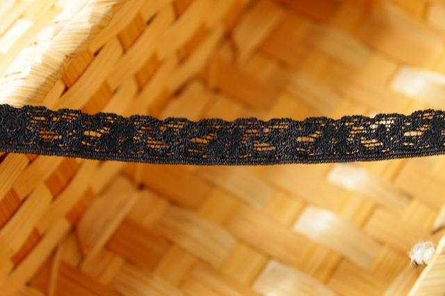 画像1: 150円!3m!幅1.2cm小花柄ラッセルストレッチレース 黒 (1)
