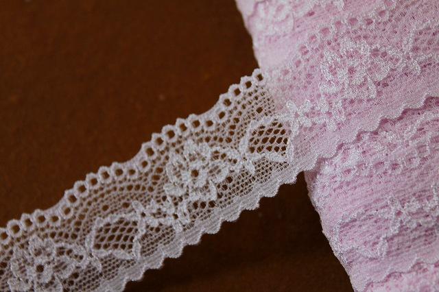 画像1: 27m!幅2.8cm綺麗な薔薇柄ラッセルストレッチレース 薄いピンク (1)