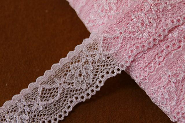 画像1: 31m!幅2.8cm綺麗な薔薇柄ラッセルストレッチレース ピンク (1)