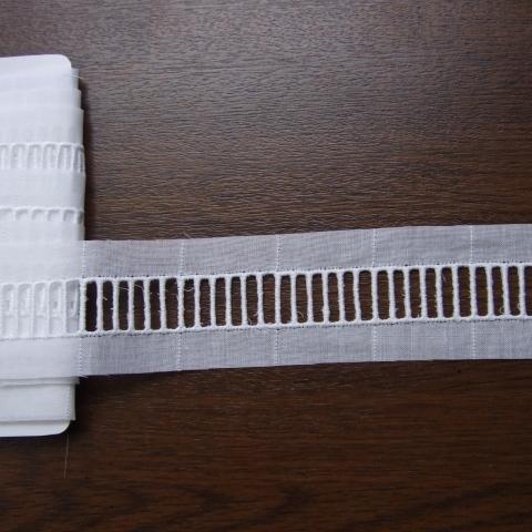 画像1: 6.5m!幅3.6cm日本製リボン通し綿レース 白 (1)