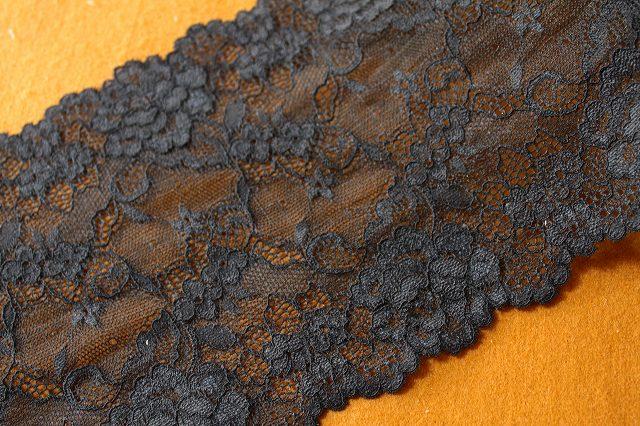 画像4: 2.5m!幅16.6cm人気の薔薇柄ラッセルストレッチレース 黒