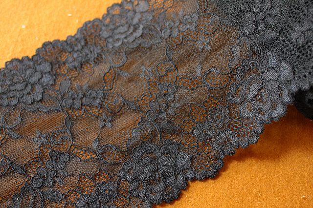 画像1: 2.5m!幅16.6cm人気の薔薇柄ラッセルストレッチレース 黒