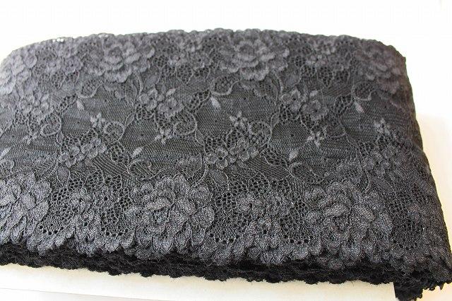 画像3: 2.5m!幅16.6cm人気の薔薇柄ラッセルストレッチレース 黒