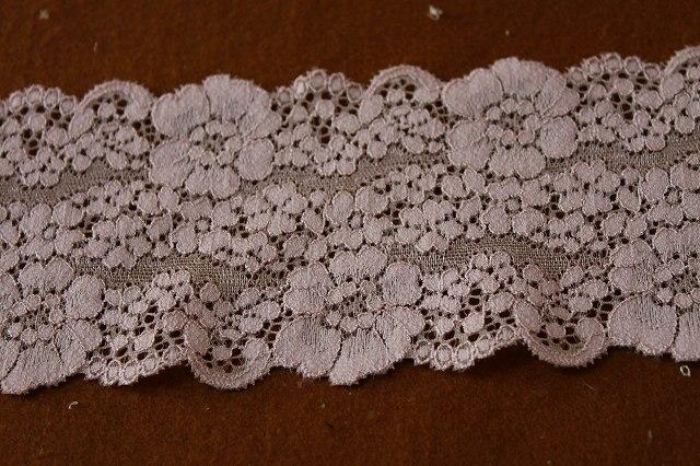画像2: 送料無料!40m!幅8cm花柄ラッセルストレッチレース ベージュ