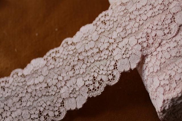 画像1: 送料無料!40m!幅8cm花柄ラッセルストレッチレース ベージュ
