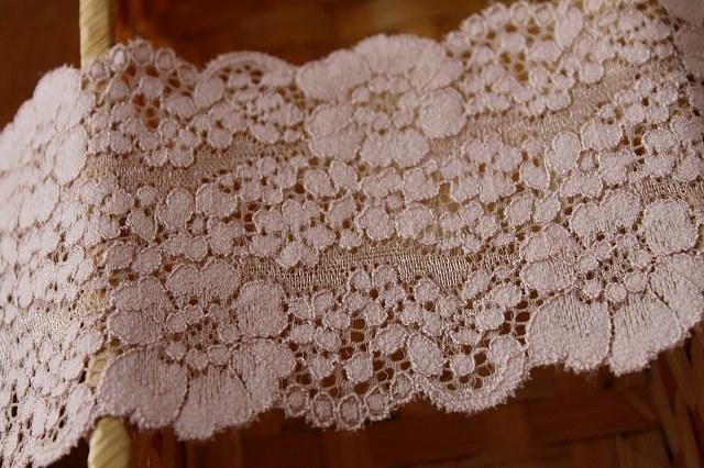 画像3: 送料無料!40m!幅8cm花柄ラッセルストレッチレース ベージュ