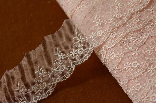 画像1: 6m巻!幅4.5cm可愛い小花柄チュールレース ピンク (1)