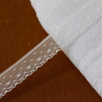 画像1: 5m!幅1.9cmキュートなハート柄ラッセルレース ホワイト (1)