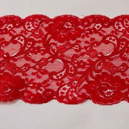 画像1: 3m!幅11.2cm上品な薔薇柄リバーレース 赤 (1)