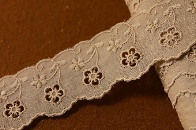 画像1: 6m!幅3.8cmキュートな小花柄綿レース ブラウン (1)