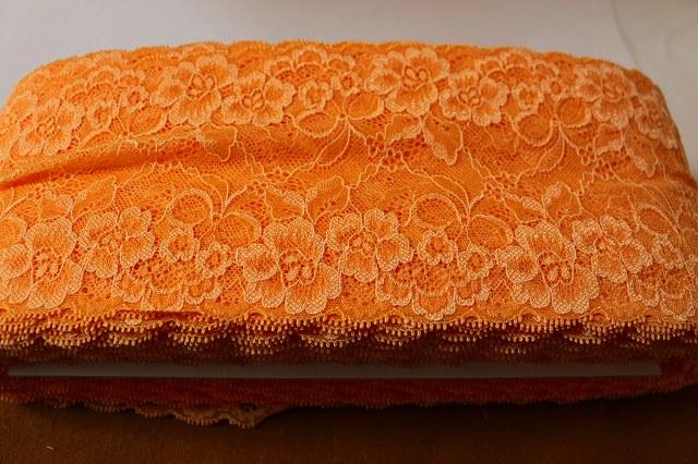 画像1: 5m!幅13.7mお花とリボン柄ラッセルストレッチレース オレンジ (1)