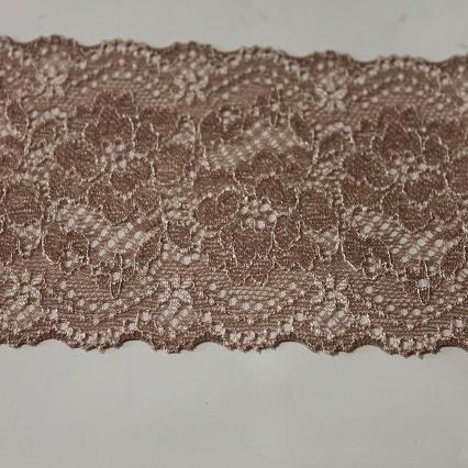 画像1: ラッセルストレッチレース ブラウン 3m巻!幅8.3cm薔薇柄 (1)