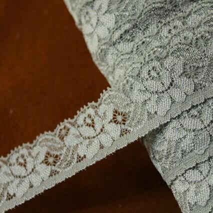 画像1: ラッセルストレッチレース グレー 3m巻!幅2.9cm綺麗な薔薇柄 (1)
