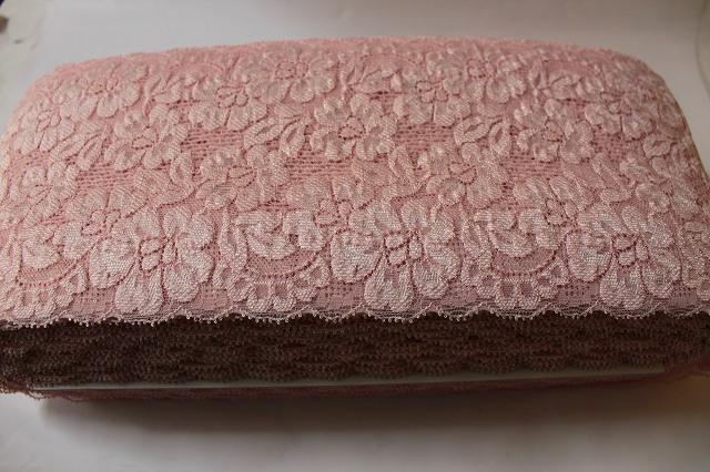 画像1: 5m巻!幅14cmお花がいっぱいラッセルストレッチレース ピンク (1)