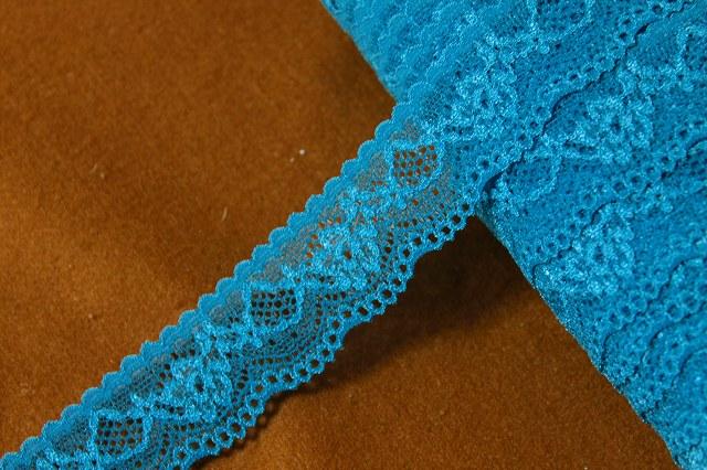 画像1: 32m!幅3cm綺麗な薔薇柄ラッセルストレッチレース 綺麗な青色 (1)