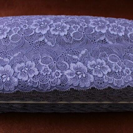 画像1: アウトレット価格58m!幅13cmお花とリボン柄ラッセルストレッチレース グレイッシュパープル (1)
