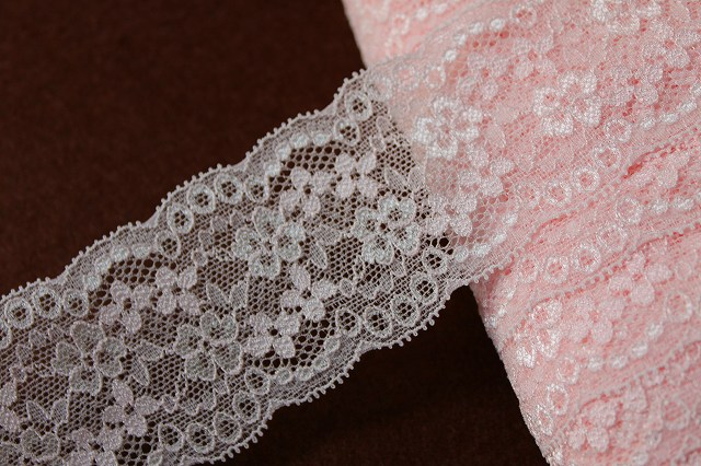 画像1: 150円!3m!幅5.9cm綺麗な小花柄ラッセルストレッチレース ピンク (1)