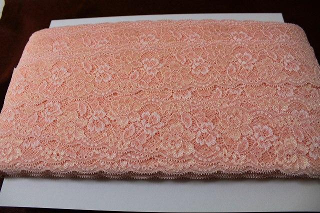 画像1: 送料無料!大量72m!幅6cm綺麗な薔薇柄ラッセルストレッチレース アプリコット色 (1)