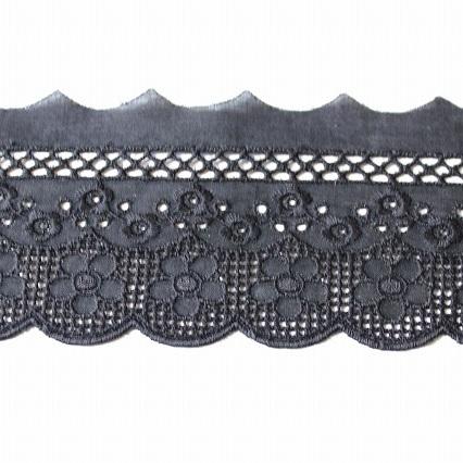 画像1: 綿レース ブラック 幅6.7cm美しい花柄日本製 6m巻! (1)