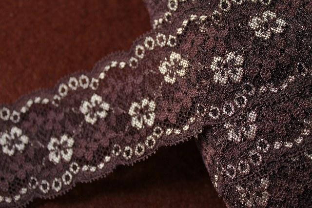 画像1: 1m25円!104m!幅6.6cm綺麗な花柄ラッセルストレッチレース ブラウン (1)