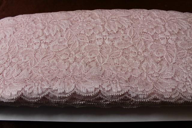 画像1: アウトレット50m!幅14.5.cm高級落下板薔薇柄ストレッチレース ピンク (1)