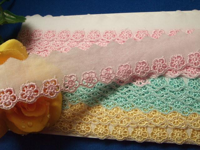 画像1: 綿レース ピンク,クリーム、ターコイズ 幅2.5cm花柄 13.1m巻! (1)