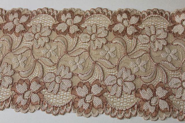 画像5: 5m!幅13.5cmアンティークな花柄ラッセルストレッチレース ブラウン