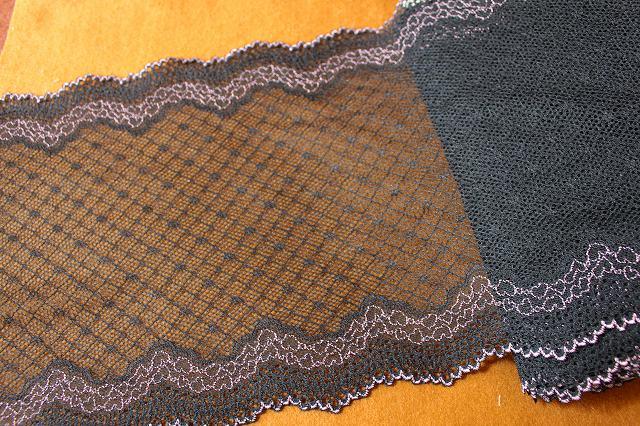 画像1: 1m!幅21cm透け感の美しいハート柄ラッセルストレッチレース 黒/ピンク (1)