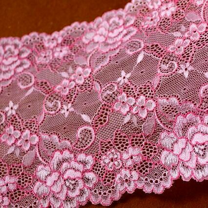 画像1: 5m!幅16.5cmコード使い薔薇柄ラッセルストレッチレース ピンク (1)
