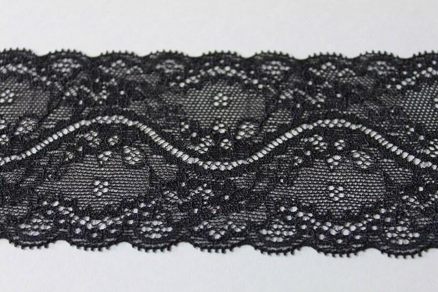 画像1: 9.5m!幅7.3cm美しい花柄ラッセルストレッチレース 黒色 (1)