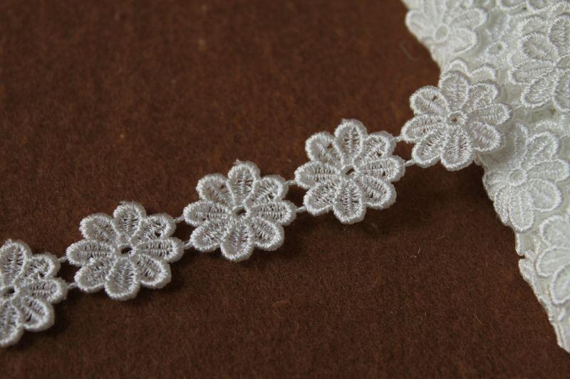 画像1: 3m!幅1.8cm小花のケミカルレース オフホワイト (1)