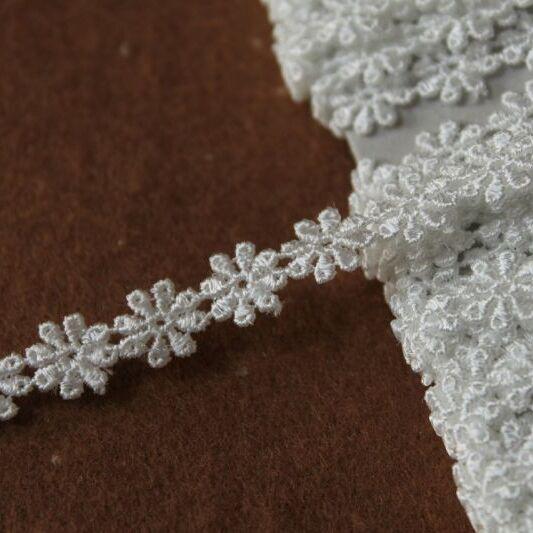 画像1: ケミカルレース オフホワイト 幅0.8cm繊細な小花柄 日本製 6m巻 (1)