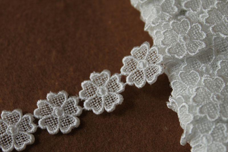 画像1: 3m!幅1.9cm小花のケミカルレース オフホワイト (1)