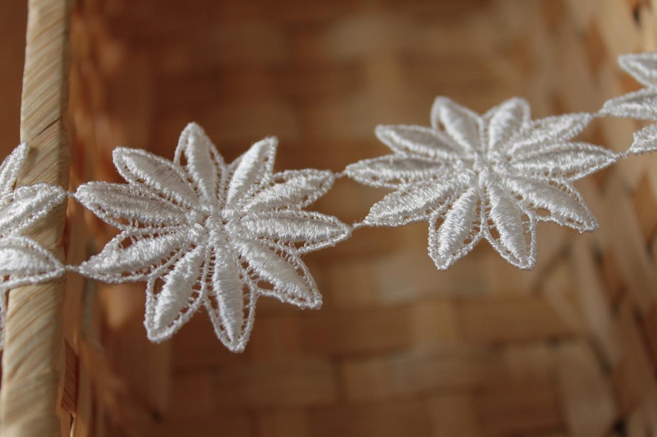 画像4: 25枚!幅3.8cm光沢のある花柄ケミカルレース オフホワイト